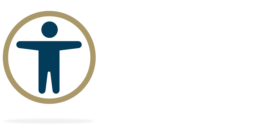 An illustrated silhouette of a man with a circle around him