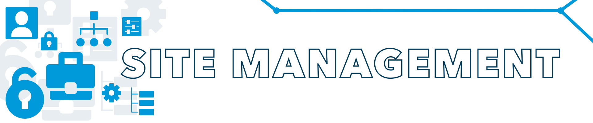 Site management banner with a profile silhouette icon, lock icons, gear icon, briefcase icon, toggle button icon, and hierarchy icons