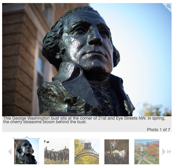 A sample photo gallery with featuring the George Washington bust at 21st & eye street with a thumbnail slider beneath it