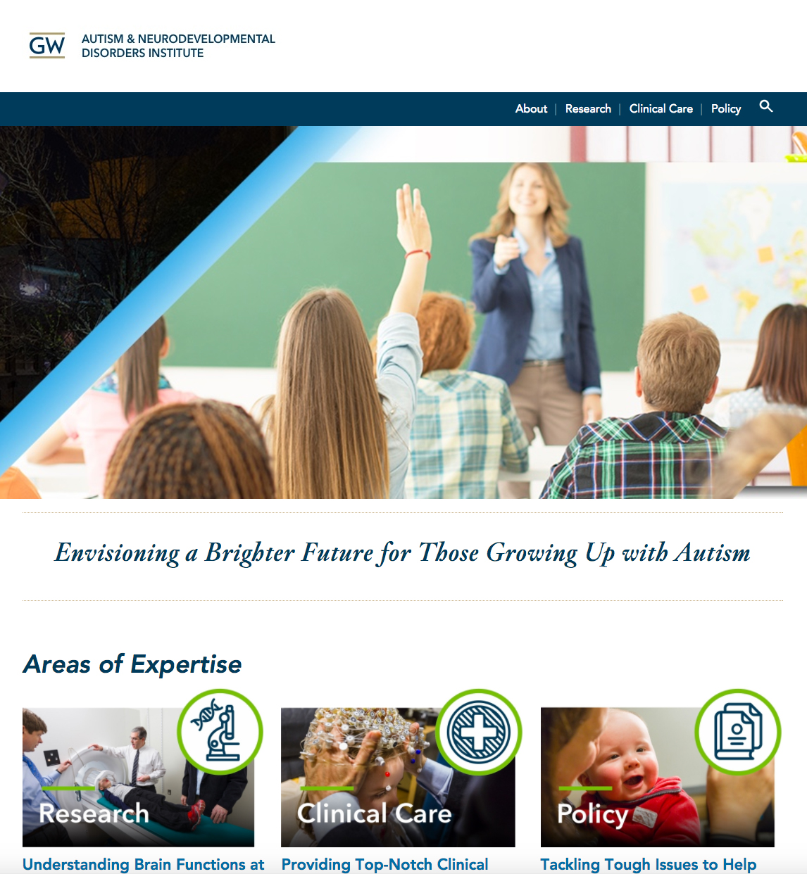 Screenshot of the Autism & Neurodevelopmental Disorders Institute website homepage