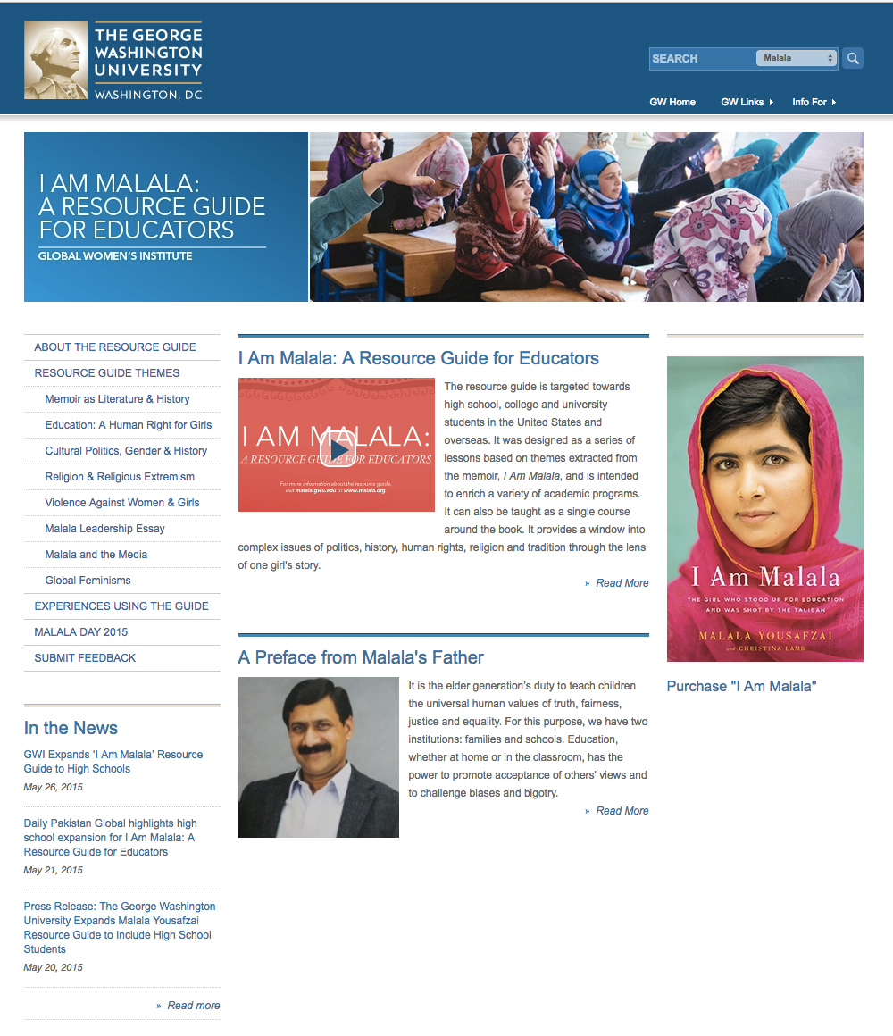 Screenshot of I Am Malala website homepage
