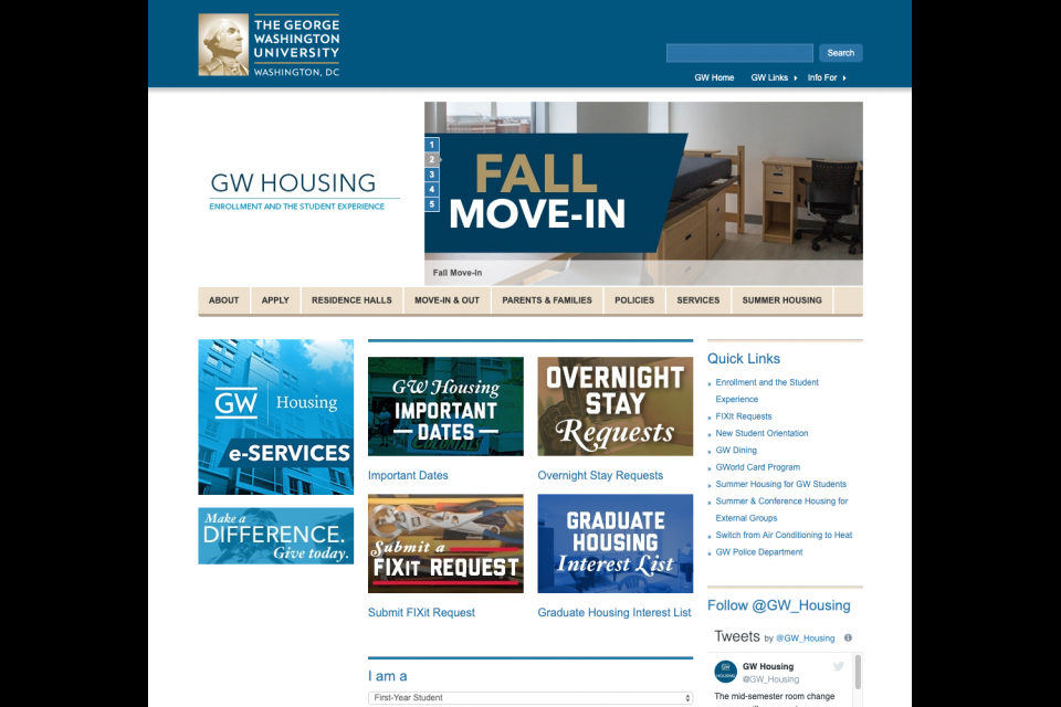 The large rotating hero on the GW Housing website featuring their Fall Move-In banner