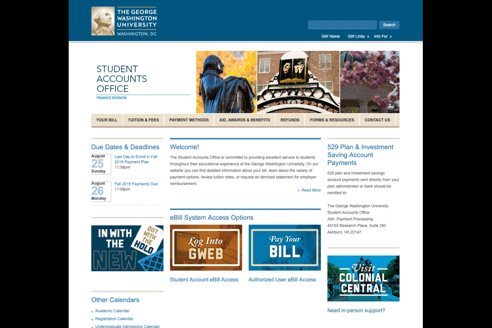 The large static Hero on the Student Accounts Office website