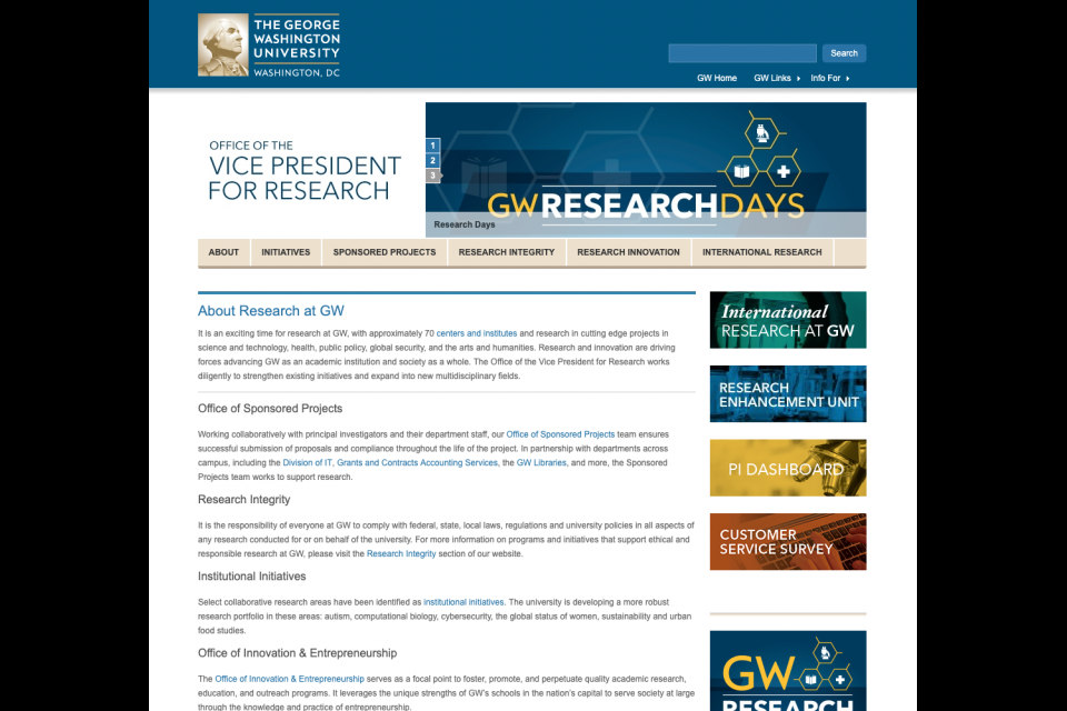 The medium rotating Hero on the Vice President for Research website featuring the Research Days banner