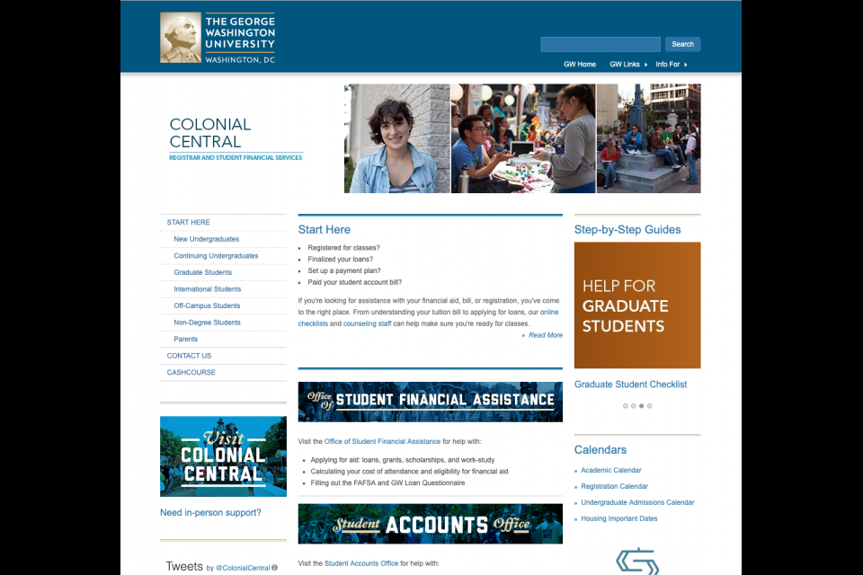 The medium static hero on the Colonial Central website featuring a collage of students