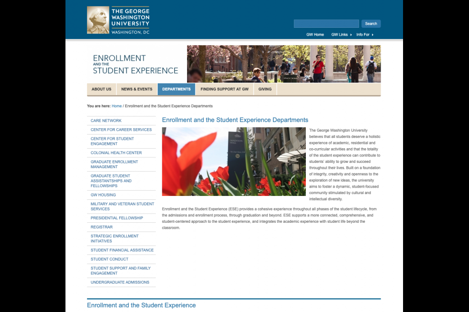 The small static hero on the Enrollment & the Student Experience website featuring an image of students on Kogan Plaza