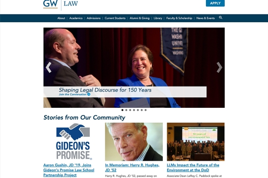 GW School of Law website homepage with a hero banner of Supreme Court Justice Sonia Sotomayor speaking at a GWLS event